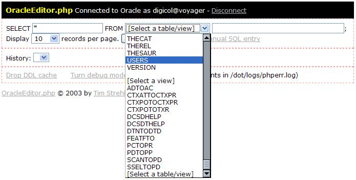 OracleEditor php - Oracle Record Browser and Editor in a single PHP